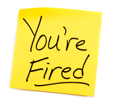 you're fired sticky note image